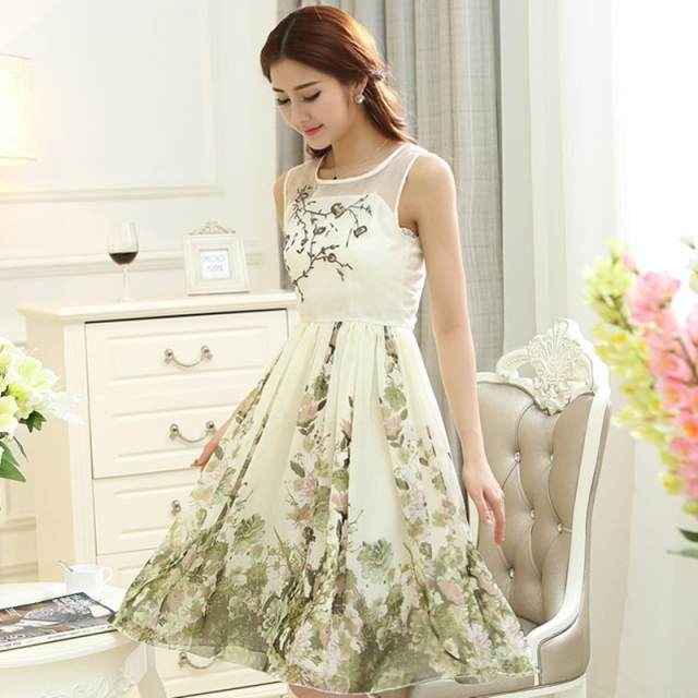 Fashionable Women Casual Embroidered Lace Dress Long Women Gowns Long Summer Dress Feather Print Dress Princess