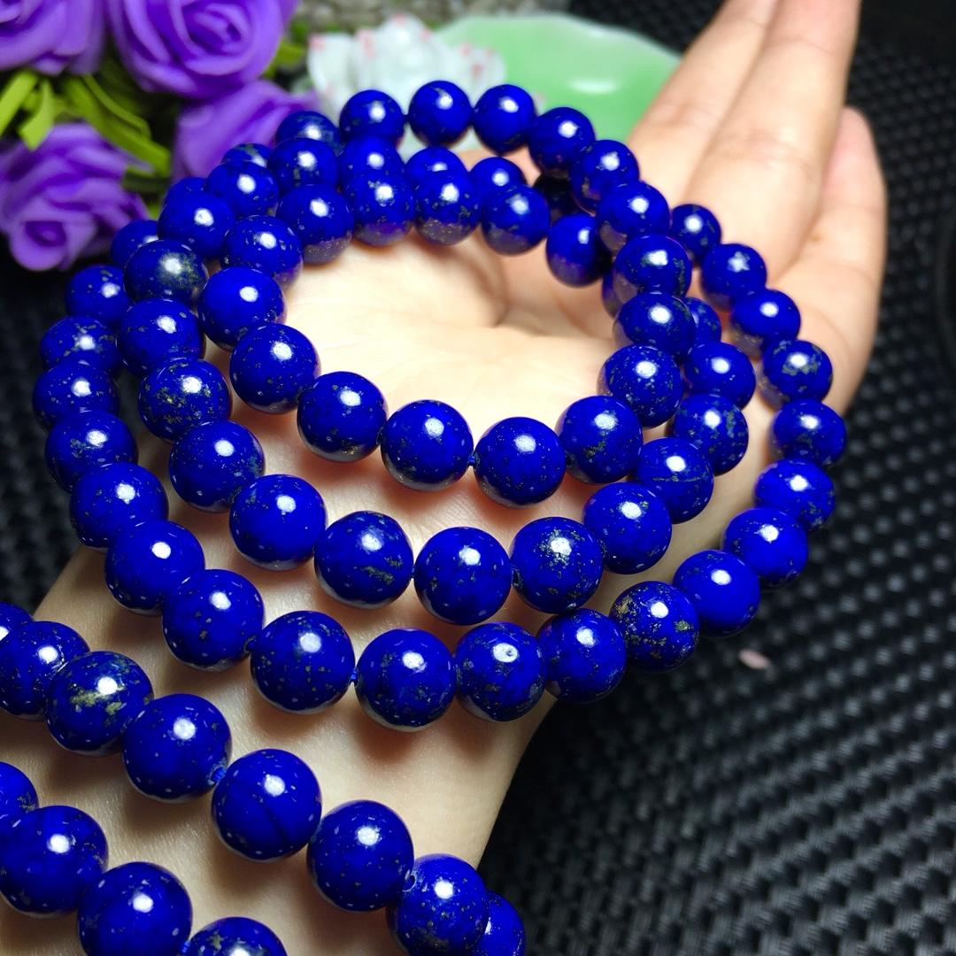 Drop Shipping Genuine Natural Lapis Lazuli Gemstone 3 laps Bracelet 8mm For Woman Female Crystal Stretch Gift Bracelets AAAA
