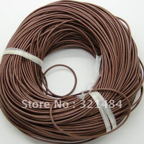 Горячая Распродажа! 3 мм 100 метр#27 цвет кофе(больше цветов можно подобрать) Ювелирные изделия настоящий чистый круглый кожаный шнур и веревка