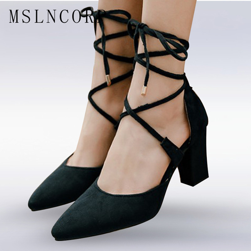 size 34-50 New Fashion Women Sandals Female Sexy Ankle Cross Strappy High Heels Suede Party Shoes Gladiator Pointed Toe Stiletto stiletto heels high cut beige black suede sandals patchwork stretch cross strappy gladiator sandals elastic fabric dress shoes page 8
