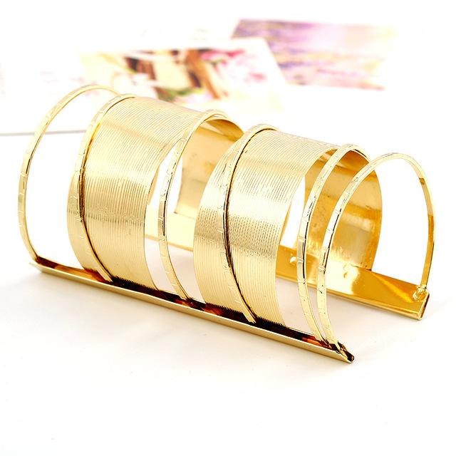 fashion vintage engravable plain gold wide cuff bangle bracelet steel arm cuff bracelets for women party accessories