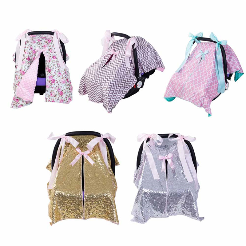 Baby Car Seat Blanket Cover Fashion Bow Newborn Baby Girls Soft Safety Car Seat Canopy Nursing Cover Multi-use Blanket Cover new