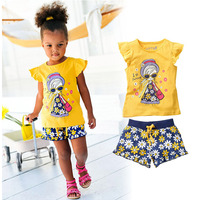 I LOVE SUMMER Girl Clothing Set Character Short Sleeve Top Short Printed Pants Cotton Kids Clothes