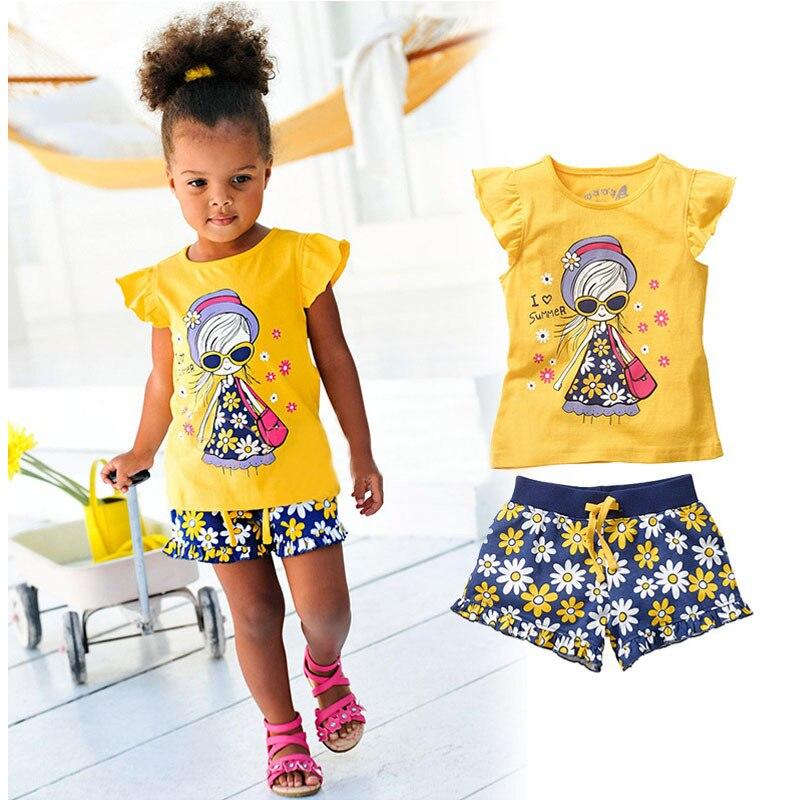 I LOVE SUMMER Girl Clothing Set Character Short Sleeve Top Short Printed Pants Cotton Kids Clothes