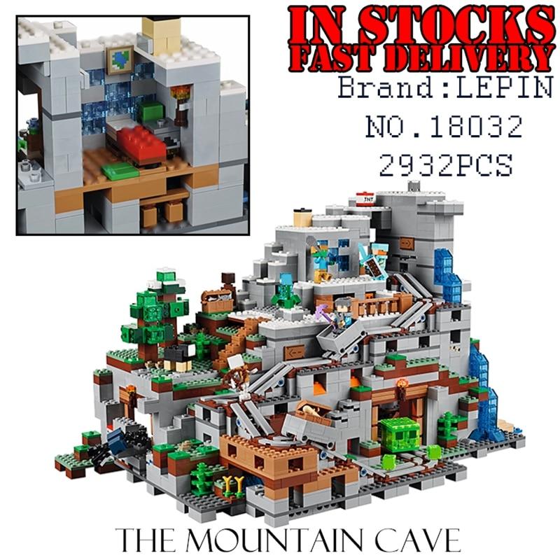 LEPIN 2932pcs The Mountain Cave 18032 My worlds Miniecraft Model Building Kits Blocks Bricks Children Toys for Children 21137 the forbidden worlds of haruki murakami