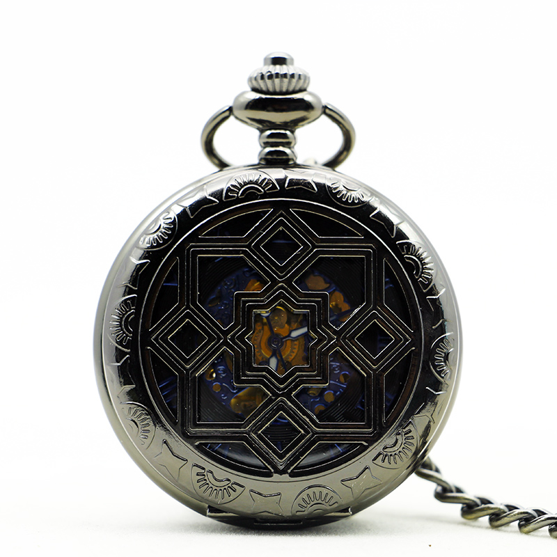 Luxury Mechanical Pocket Watch Women Flower Symmetry Carving Vintage Nurse Grilles With Fob Chain For Men Women PJX1138