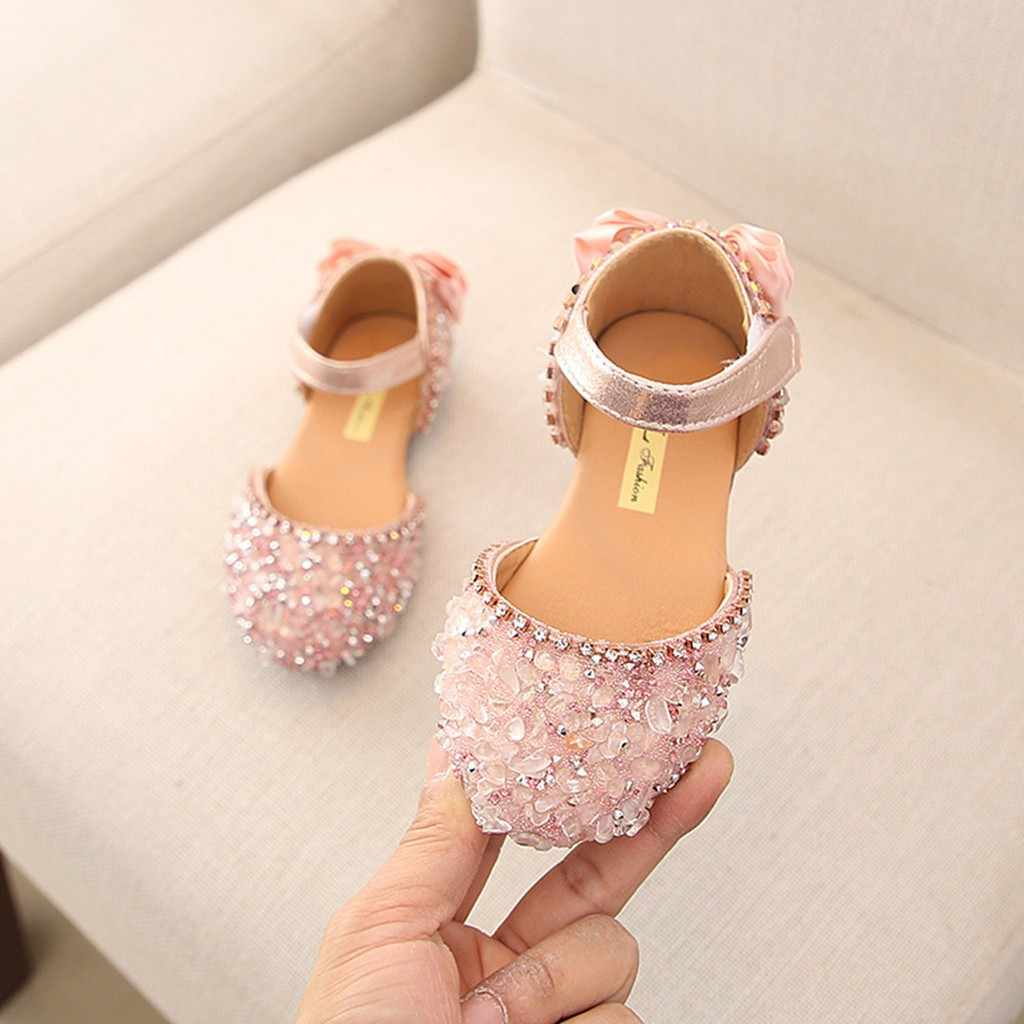 Sandals for Girls Summer Children Kids Baby Girls Bowknot Crystal Princess Sandals wedding shoes #TX4