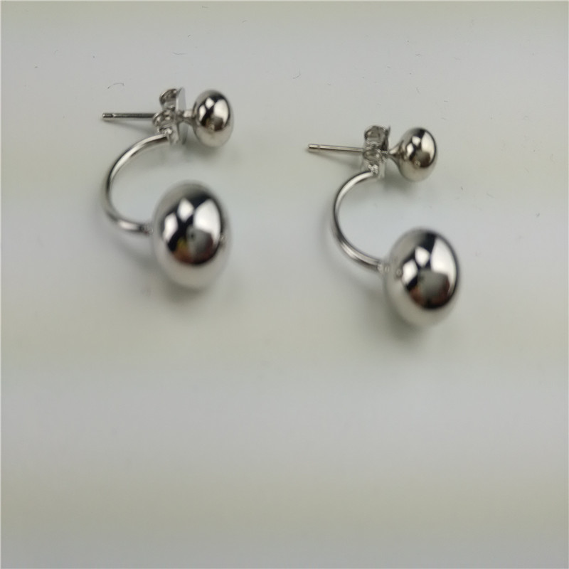 ce7f627fd Jsmpfy Sterling Silver Fashion Simple Geometric Round Ball Double Side  Beads Stud Earrings 925 Silver Earring Jewelry bijoux-in Earrings from  Jewelry ...