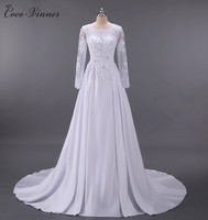 C V Wedding Dress 2017 New Backless Slim Long Sleeve Training Satin Vintage Lace Wedding Dresses