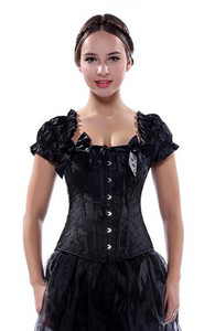 Image 2 - Sapubonva corsets bustiers tops clothing black white overbust gothic corsets with straps vest halter sexy bridal corselet ladies