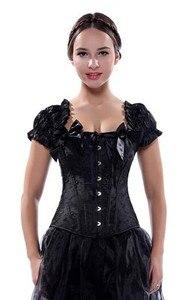 Image 2 - Sapubonva は服黒、白 overbust ゴシックコルセットとストラップベストホルターセクシーなブライダル胴鎧女性