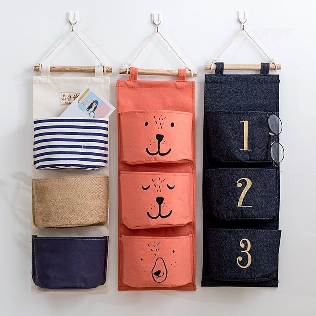 Wall Sundry Canvas Hanging Organizer Bag Multi layer Holder Makeup