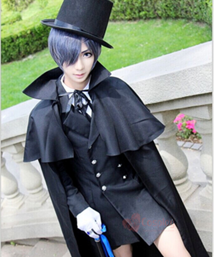 Costume funéraire Cos kuroshisuji Anime chaud noir majordome Ciel fantôme Cosplay quotidien vêtements ensemble ont chapeau cape anneau lunettes - 5