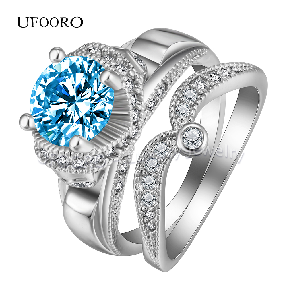 Ufooro Luxury Claddagh Vintage Promise Ring Heart Love Cz Zircon Wedding  Band Women's Engagement Skull Ring Sets Jewelry