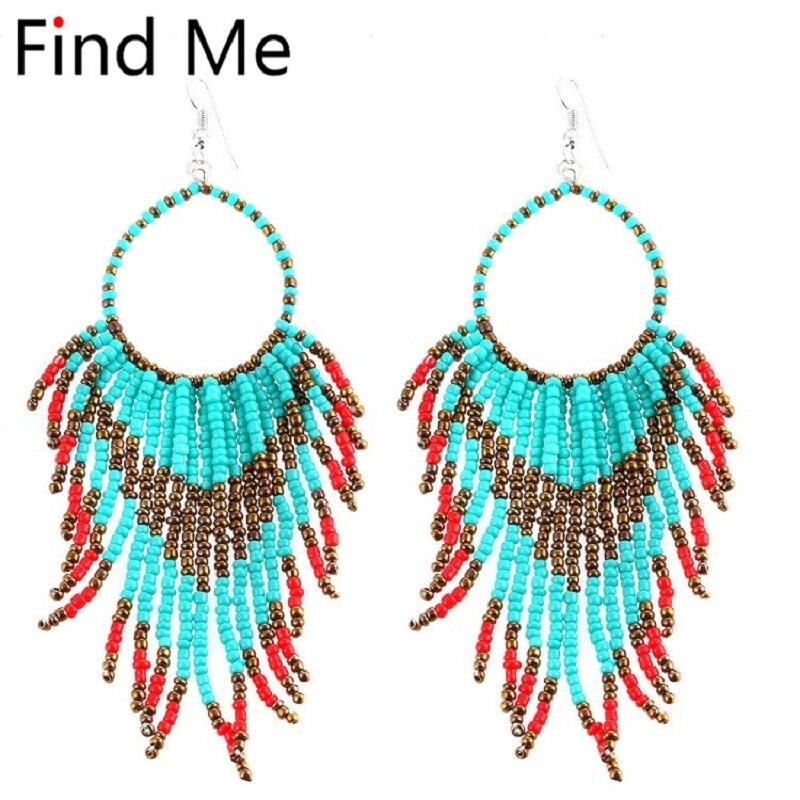 Find Me 2018 fashion Vintage Woven long Statement earrings ethnic Bohemian Earrings for Women Statement drop earrings Jewelry