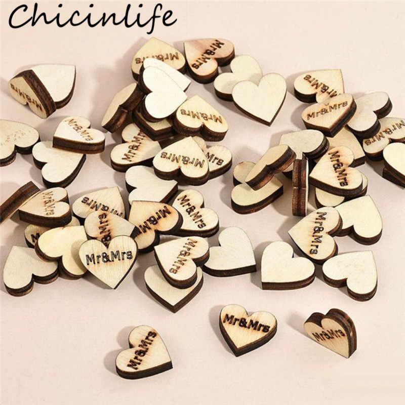 Chicinlife 50Pcs 2cm Wooden Mr&Mrs Heart Confetti Wedding Party Decoration DIY Crafts Bride Groom Favors Table Scatter Supplies