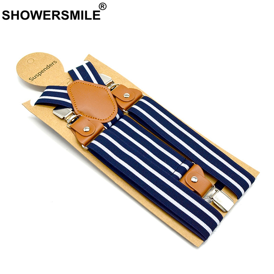 SHOWERSMILE Men Suspenders Belt Navy Unisex Women Suspender Adult Stripe Braces Leather Adjustable 3 Clips Male Pants Straps Man