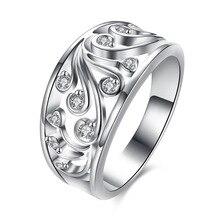 Фотография Elegant women silver Wedding ring Jewelry Fashion Lady Crystal stone fashion Charm classic Jewelry Christmas Gift  R882