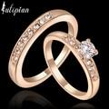 Iutopian moda jóias lote de 2 rose banhado a ouro adorável anéis set para as mulheres com cristal austríaco stellux frete grátis