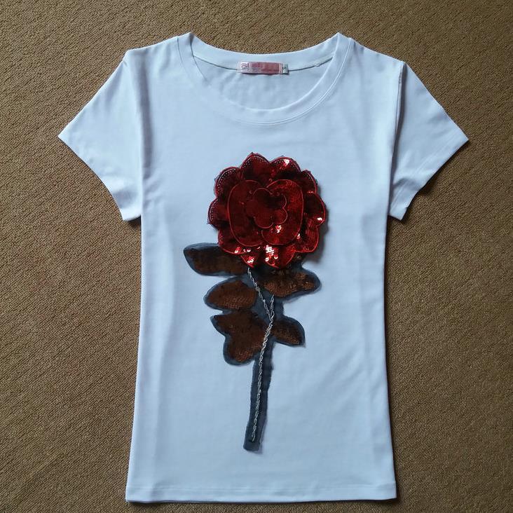HTB1YtC3JFXXXXXZXXXXq6xXFXXXv - New Summer women t shirt fashion cotton female rose flower tops t-shirt