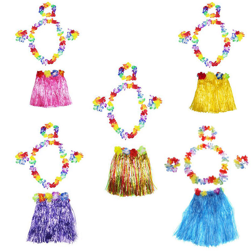 a060386a5fb8 5 Color 5PCS/set Plastic Fibers Women Grass Skirts Hula Skirt Hawaiian  costumes 60CM Ladies Dress Up Festive & Party Supplies