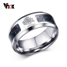 Vnox 8mm Carbon Fiber Ring For Man Graverte Tree Of Life Rustfritt Stål Male Alliance Casual Smykker US Size 7 # -12 #