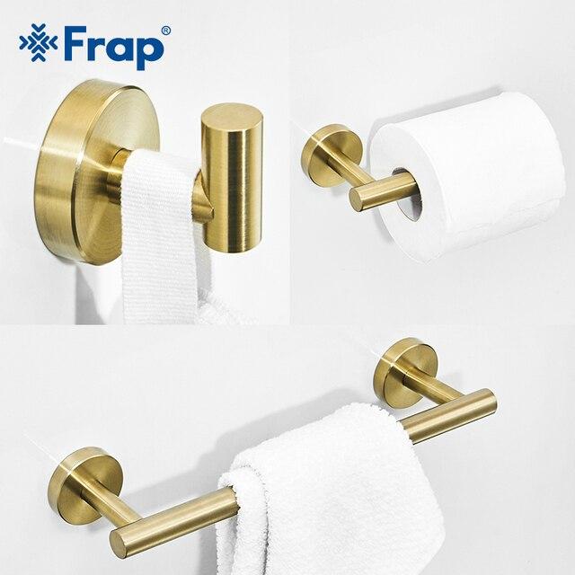 Frap Gold Bathroom Hardware Set Paper Holder Towel Rack Robe Hook Towel Bar Stainless Steel Bathroom Accessories Y38124-1