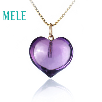 10.65ct natural amethyst real 18K gold pendant for women and man,heart cut trendy and simple fine jewelry,best gift for lovers