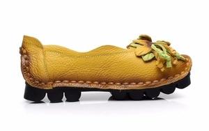 Image 3 - Mới Mùa Thu Hoa Làm Bằng Tay Giày của Phụ Nữ Floral Mềm Phẳng Đáy Giày Da Đanh Giản Dị Retro Phụ Nữ Genuine Leather Shoes