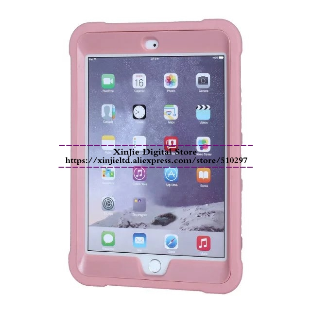 For iPad Mini 1 2 3 Case Silicone PC Hard Shockproof Heavy Duty Armor Kids Safe Protective Stand Cover Skin For Mini2 Mini3