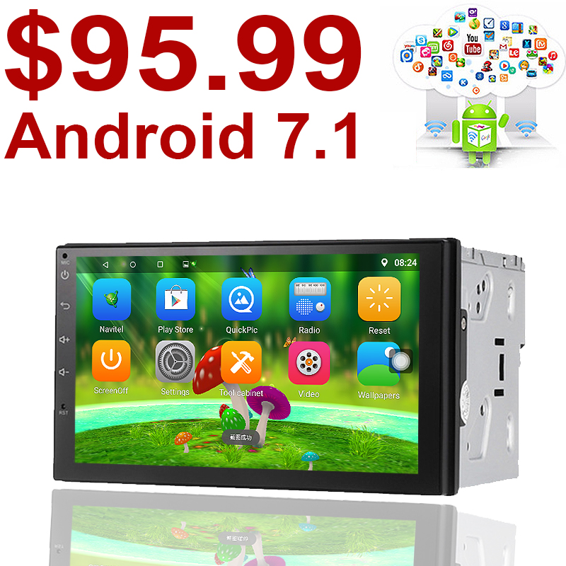 Le soutien dab 2 din Android 7.1 Voiture (pas) lecteur DVD GPS + Wifi + Bluetooth + Radio + Quad Core 7 pouce 1024*600 écran de voiture stéréo radio