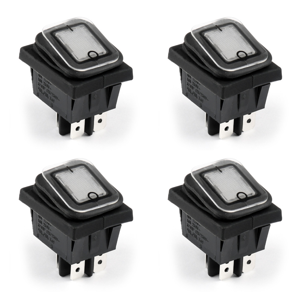 RL2-102 Rocker Switch Waterproof IP65 Boat Car Rocker Switch 4Pin ON/OFF 125/250VAC 4PCS White High Quality on the open shanghai wing star ship switch kcd6 21n f ip65 waterproof switch 6a 4 foot red 220v