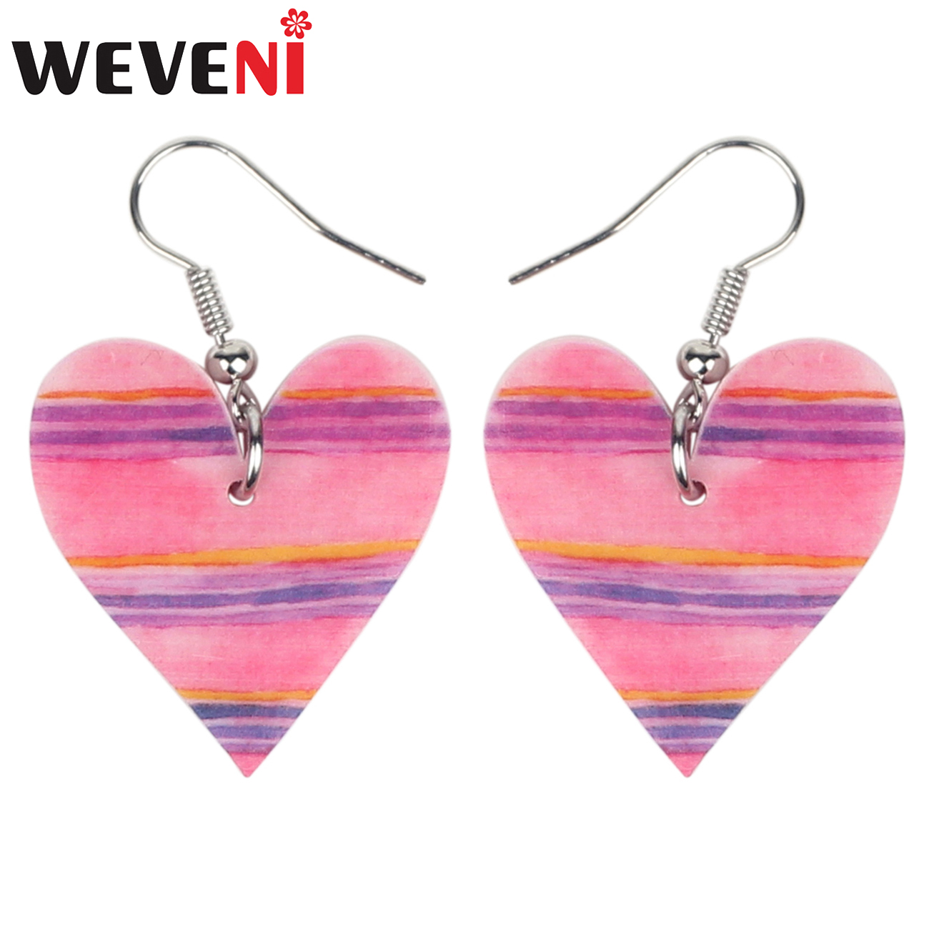 WEVENI Statament Acrylic Valentine's Day Pink Heart Earrings Drop Dangle Lovers Jewelry Gift For Women Girls Charms Brincos 2019