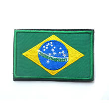 Embroidery Badge Brazilian National Flag Of Brazil Military Embroidered Badges Tactical Patch For Outdoor Clothing Cap Bag(China)