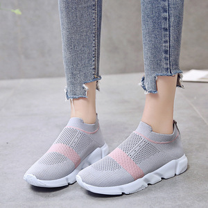 Image 3 - Women Vulcanized Shoes Fashion Sneakers Slip On Sock Shoes Summer Female Knitted Trainers Ladies Casual Shoes Tenis Feminino