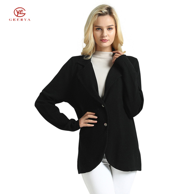 Geerya Spring 2018 Fashion Knit Sweater Women Knitted Cardigan Black Suit Lapel Clothing Cashmer Winter Female Coat