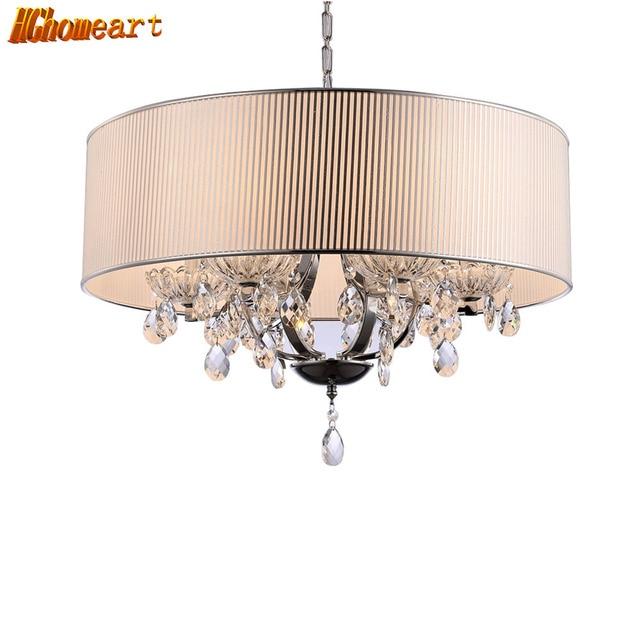 Hghomeart ronde moderne cristal lampe led pendentif lustre conception pendentif salon lumière brillant suspension lampe d