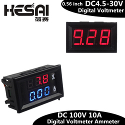 0,56 pulgadas Mini voltímetro Digital amperímetro DC 100V 10A voltímetro medidor de corriente probador azul + rojo doble pantalla LED