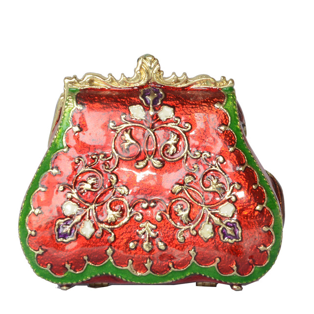 Lady Purse Handbag Trinket Box Enamelled Hinged Jewelry Box Vintage