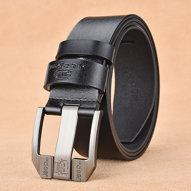 NO.ONEPAUL Genuine Leather For Men High Quality Black Buckle Jeans Belt Cowskin Casual Belts Business Belt Cowboy waistband 2