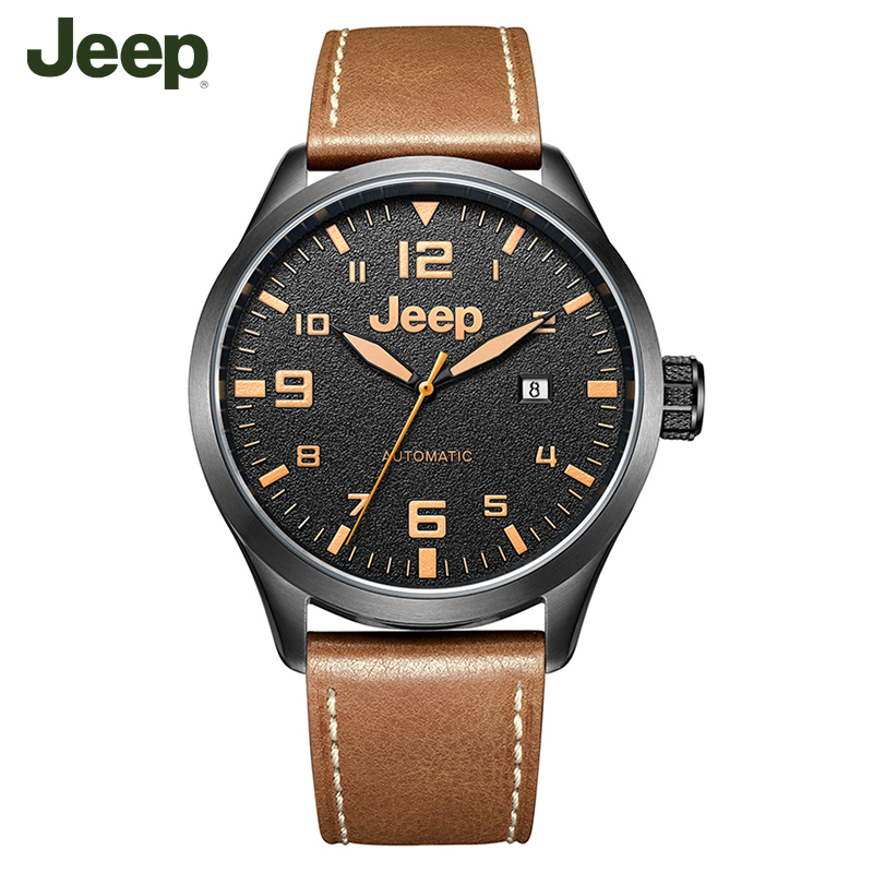 лучшая цена Jeep Original Watches Casual Fashion Simple Leather Band Mechanical Watches JPW66003