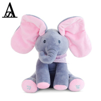 2018 Top Quality Peekaboos Elephant Baby Plush Toy Singing Flappy Play Stuffed Animated Doll Toy Toys for Children For Fun Music
