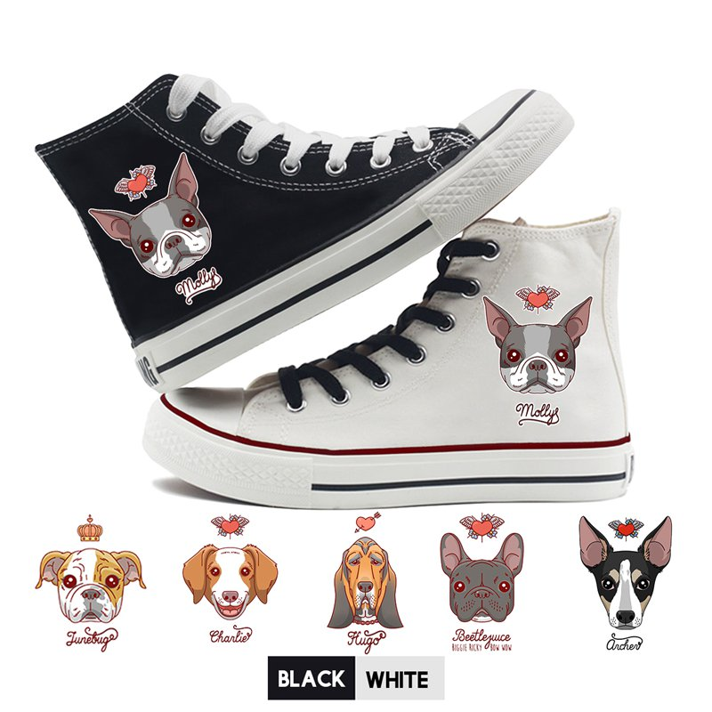 Men's Vulcanize Shoes Cute Corgi Dog Cat Fruit Printed Shoes Graffiti High Heel Double-layer Canvas College Personalise Fashion A194112