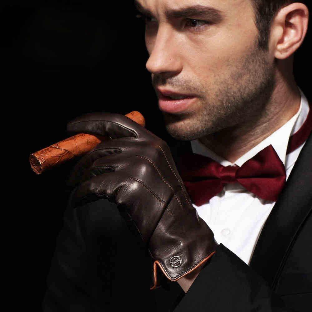 トップ品質本男性熱冬のタッチスクリーンシープスキン手袋ファッションスリム手首駆動 EM011NC3