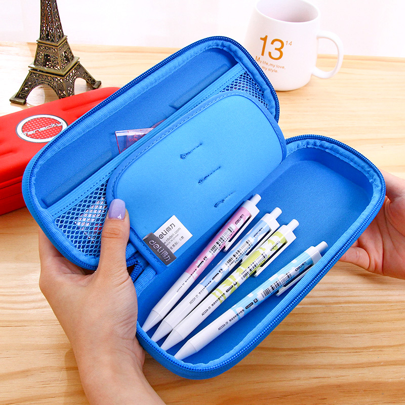 1 Pc New Material EVA+PU Pencil Bag For Students Light And Soft Pencil Case 228mmx105mmx49mm 2 Colors Deli 66742 point systems migration policy and international students flow