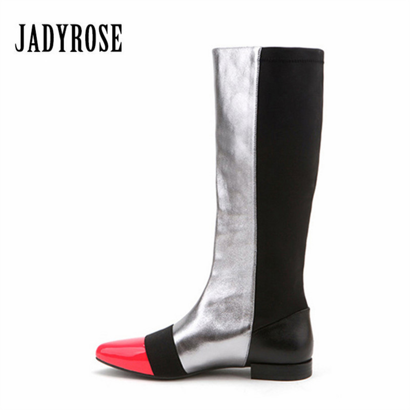Jady Rose 2018 Nouveau Patchwork Femmes mi-mollet Haute Bottes Véritable En Cuir Stretch Bottes Femme Slip Sur Plat Martin bottes