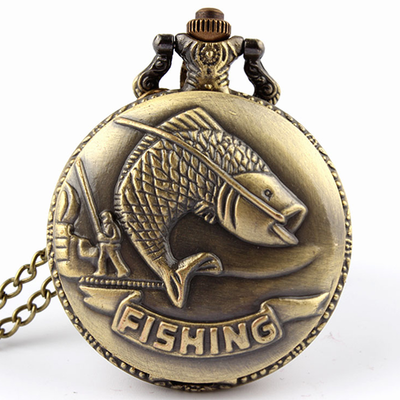 Retro Bronze Vintage Fish Pocket Watch Necklace Chain Fashion steampunk fishing Quartz pocket & fob watches Men relogio de bolso retro steampunk bronze pocket watch eagle wings hollow quartz fob watch necklace pendant chain antique clock men women gift