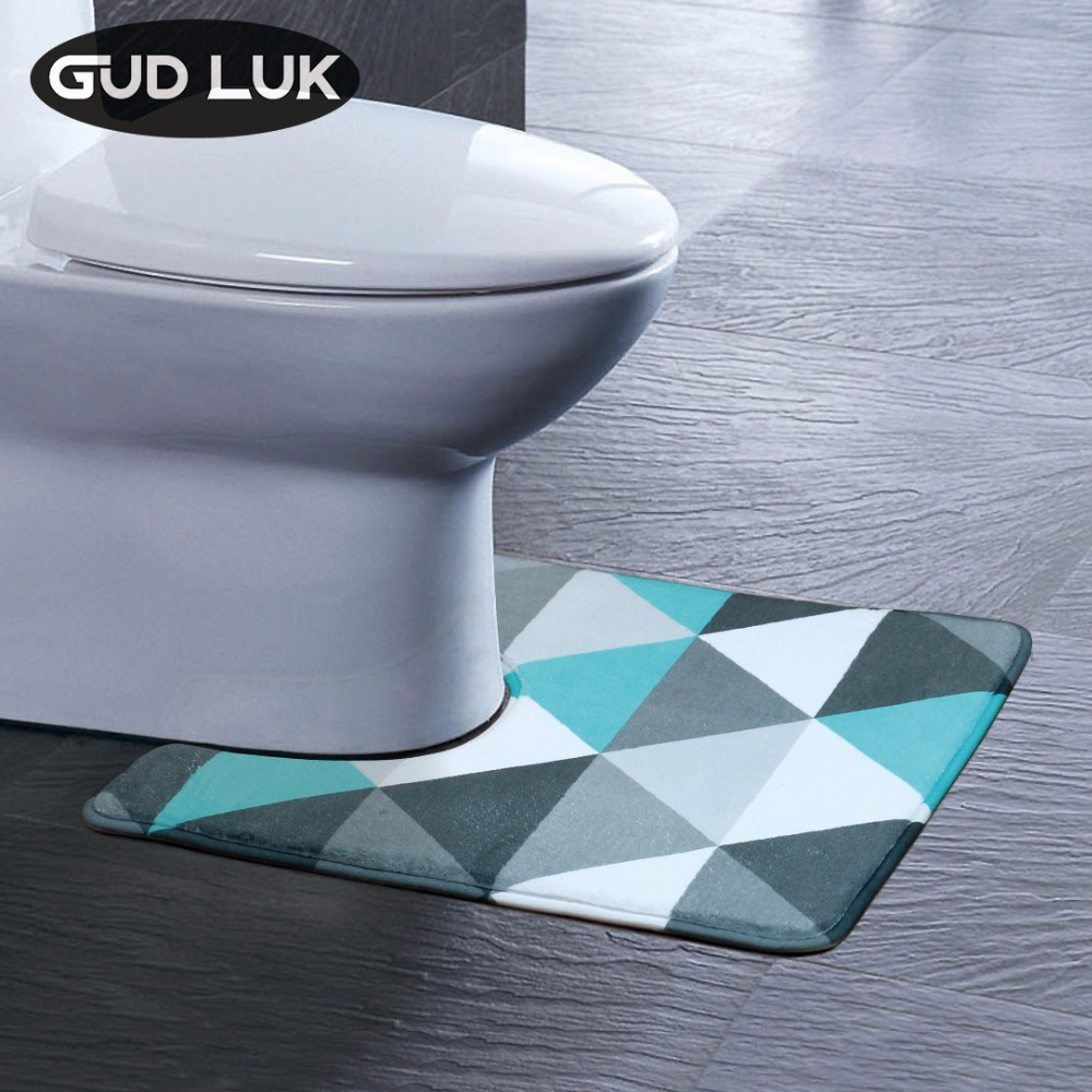 40*45cm U Shaped Bath Mats Anti-Slip Home Bathroom Carpet Decoration Bath Toilet  Pedestal Lint Rug Toilet Accessories UXD-LX