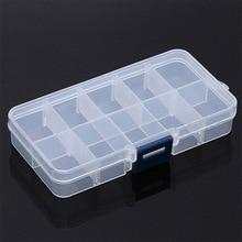 10 compartimentos de rejilla de plástico transparente organizador de cuentas de joyas estuche cubierta contenedor caja de almacenamiento para joyería píldora
