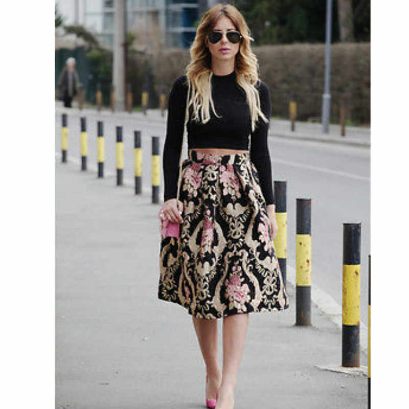 181a1d1c14 hirigin Vintage Women Stretch High Waist Skater Flared Pleated Swing  Chinese Style Skirt